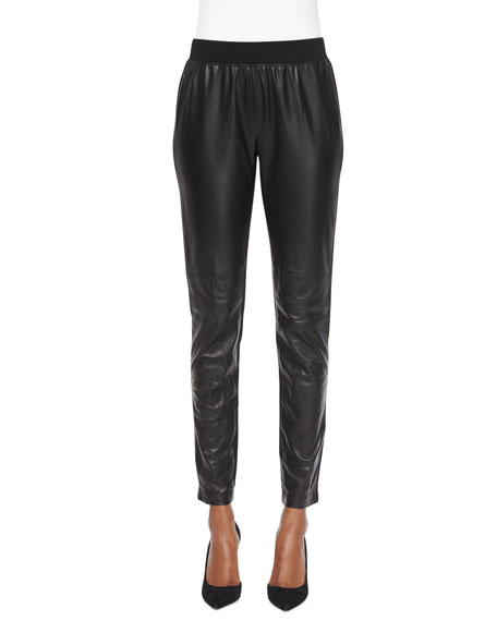 Lafayette 148 New York Leather-Panel Moto Leggings, Black