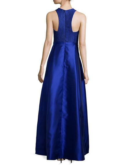 Sleeveless Lace & Mikado-Skirt Gown