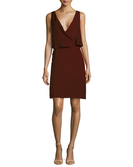 Theory Osteen Silk Wrap-Front Dress, Cassis