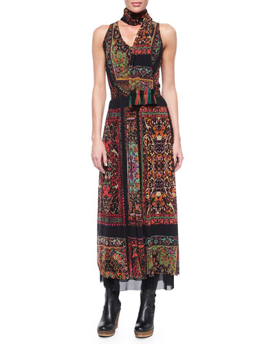 Sleeveless Rug-Print Maxi Dress W/Scarf