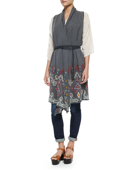 Johnny Was Collection Tisha Embroidered Knit Vest, Plus
