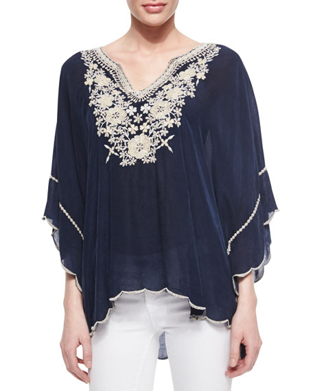 Johnny Was Collection Embroidered Georgette Poncho Tunic, Plus Size