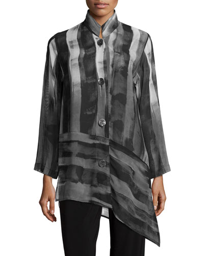 Shadow-Stripe Angled Blouse, Women's