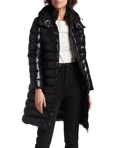 Moka Shiny Fitted Puffer Coat with Hood