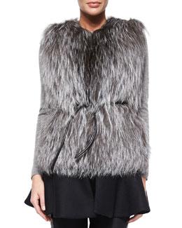 Aubenas Fox Fur Vest, Black