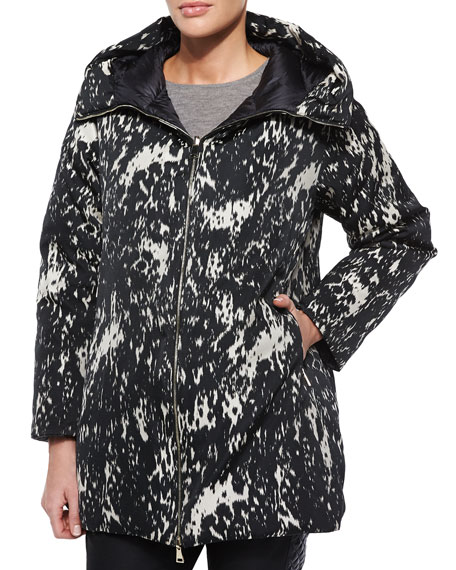 Moncler Colliers Reversible Solid/Printed Puffer Coat, Black/White