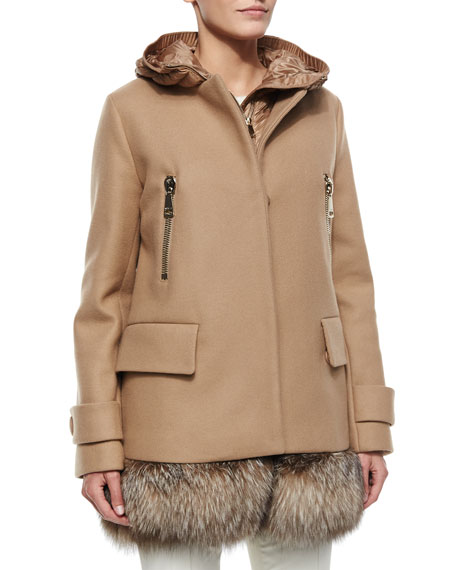 Moncler Fenelon Two-Piece Fur-Hem Coat, Camel