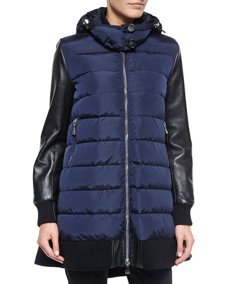 Moncler Blois Flyaway-Back Coat, Black/Blue