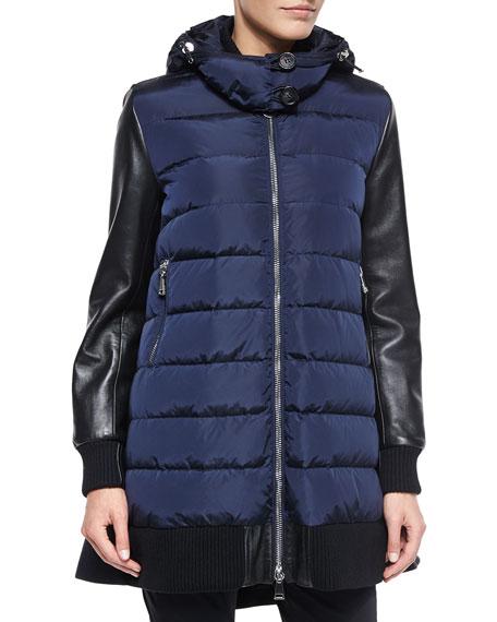 Moncler Blois Flyaway-Back Coat, Black/Blue