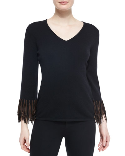 Cashmere V-Neck Sweater W/ Suede Fringe Detail