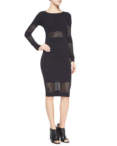 Long-Sleeve Striped-Mesh Body-Conscious Midi Dress