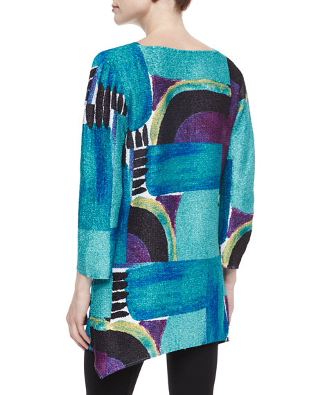 3/4-Sleeve Abstract-Print Tunic, Petite