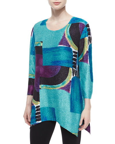 3/4-Sleeve Abstract-Print Tunic, Petite