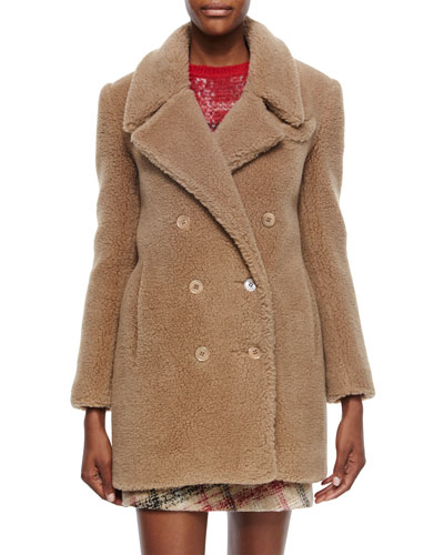 Double-Breasted Alpaca Peacoat, Camel