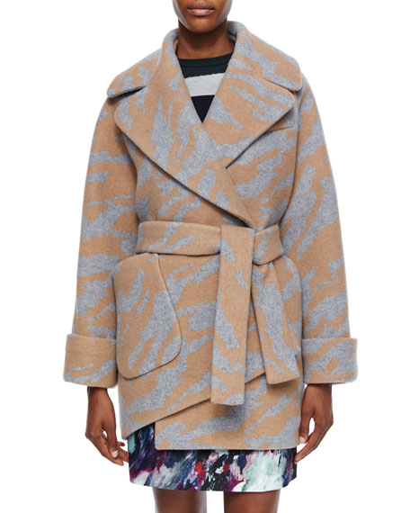 Carven Long-Sleeve Oversized Printed Wrap Coat, Camel/Gris