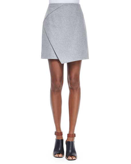 Carven Mid-Rise Flannel Envelope Skirt, Gris Clair Chine