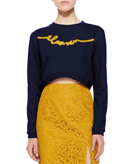Enscripted Cropped Sweatshirt