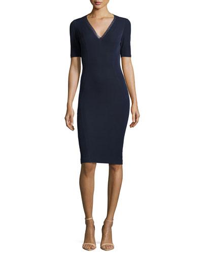 Shannon V-Neck Ponte Sheath Dress, Navy Yard