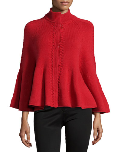 Ribbed Cashmere Capelet, Poppy Red