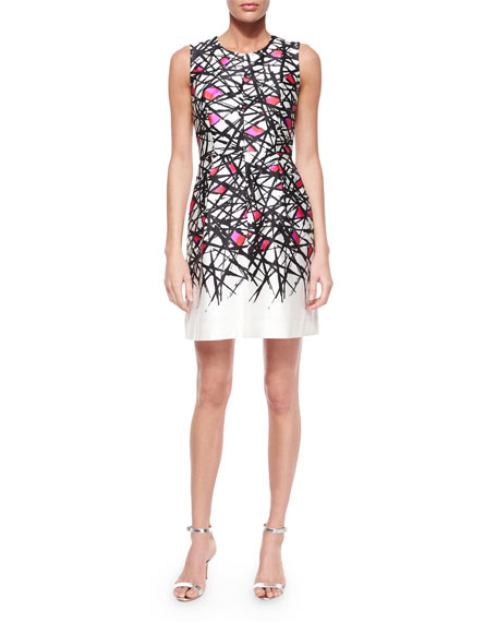 Milly Coco Abstract-Print Dress, Pink Pattern