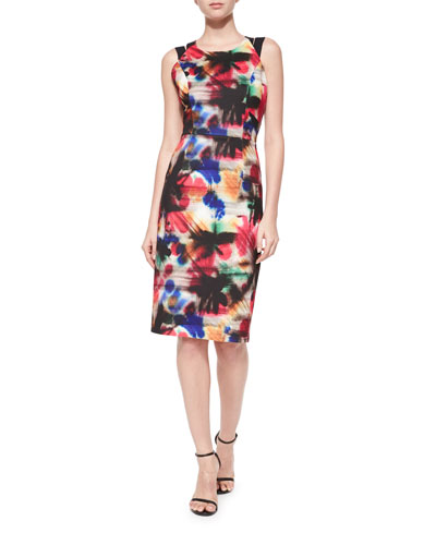 Hayden Graffiti-Print Sheath Dress, Multi Colors