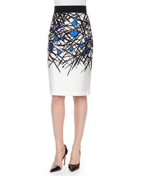 Milly Abstract-Print Pencil Skirt