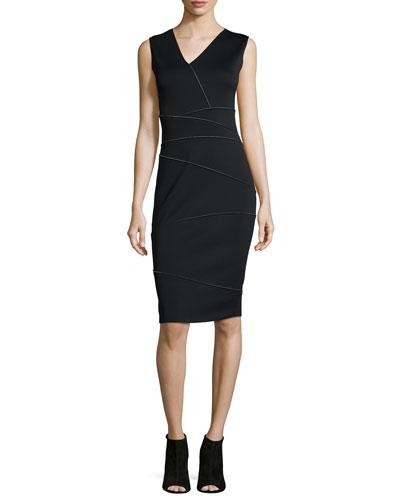 Alexia Reversible Asymmetric-Panel Sheath Dress, Black/White