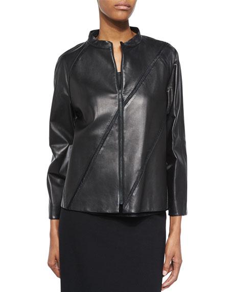 Lafayette 148 New York Lambskin Leather Topper W/ Diagonal Mesh