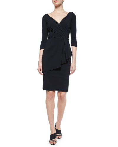 Stellina Peplum-Front Sheath Dress, Black