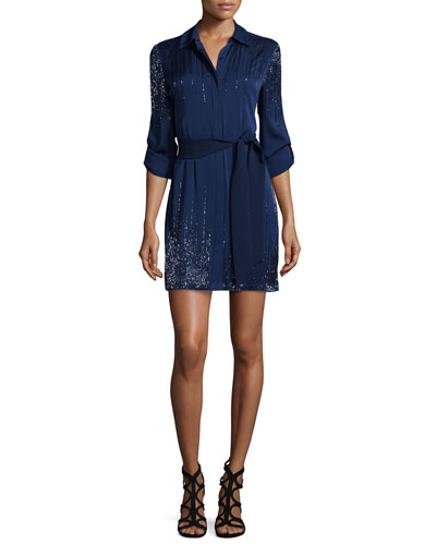 Prita Embellished Silk Shirtdress, Navy
