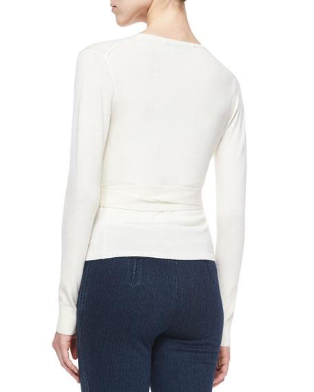 Diane von Furstenberg Ballerina Wrap-Front Sweater, Ivory