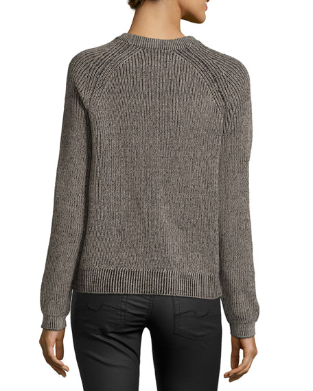 Sweater With Fur Sleeves: Nicole Miller Long-Sleeve Ribbed Sweater With Fur Front