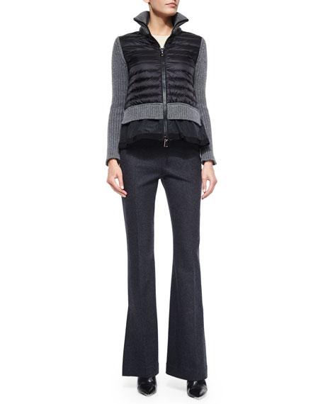 Full-Leg Flannel Pants, Charcoal