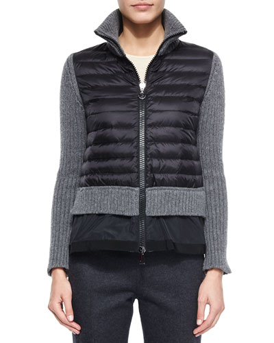 Zip Cardigan with Peplum Hem, Black/Gray