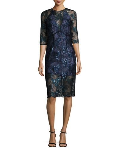 3/4-Sleeve Lace Illusion Sheath Dress