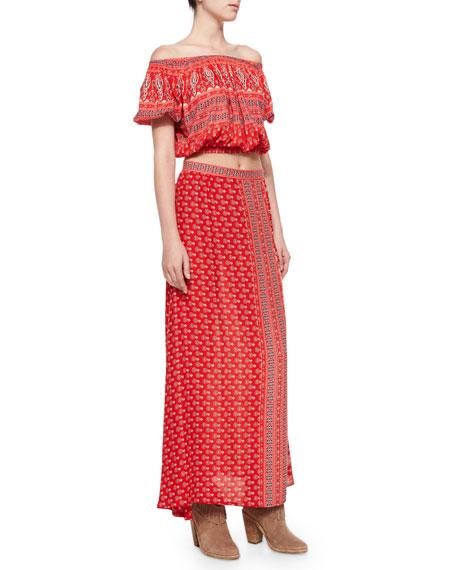 Gypsiana Maxi Skirt, Red Bandana