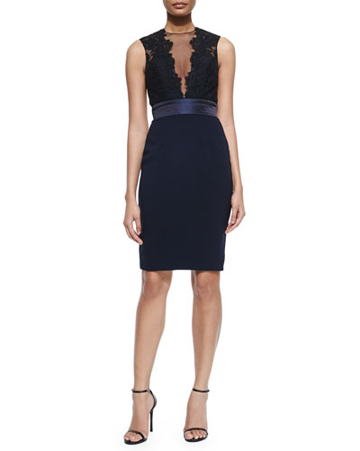 Sleeveless Illusion Deep-V Cocktail Dress, Black/Midnight