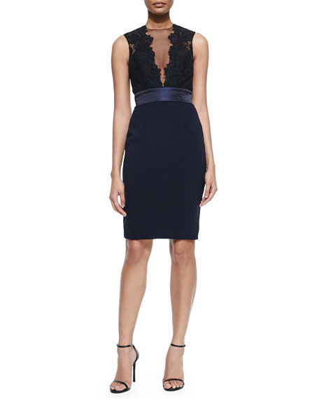 ce2f784f Monique Lhuillier Sleeveless Illusion Deep-V Cocktail Dress, Black/Midnight  | Neiman Marcus