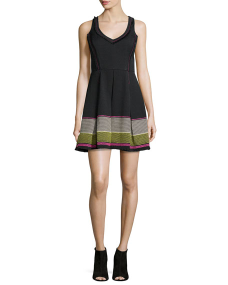 Trina Turk Sleeveless V-Neck Embroidered Party Dress