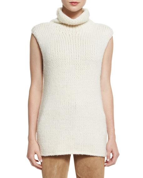 Theory Vandrona Sleeveless Turtleneck Sweater, Ivory