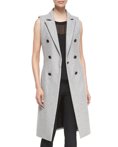 Faye Wool-Blend Long Vest, Gray