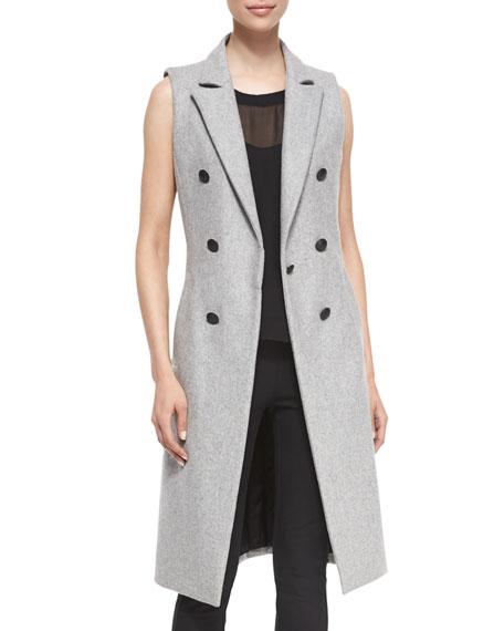 Faye Wool-Blend Long Vest, Gray