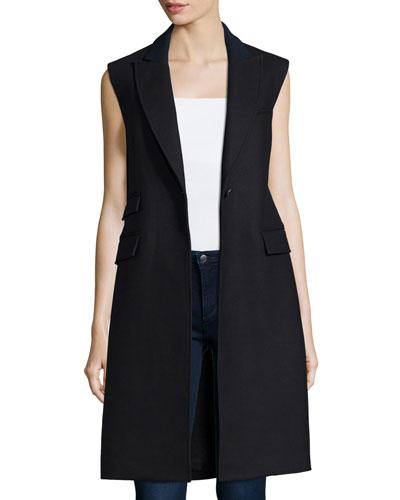 Palmer Long Sleeveless Vest, Black