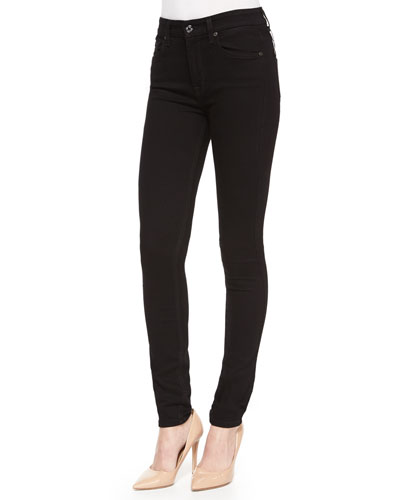 High-Waist Skinny Jeans, Black