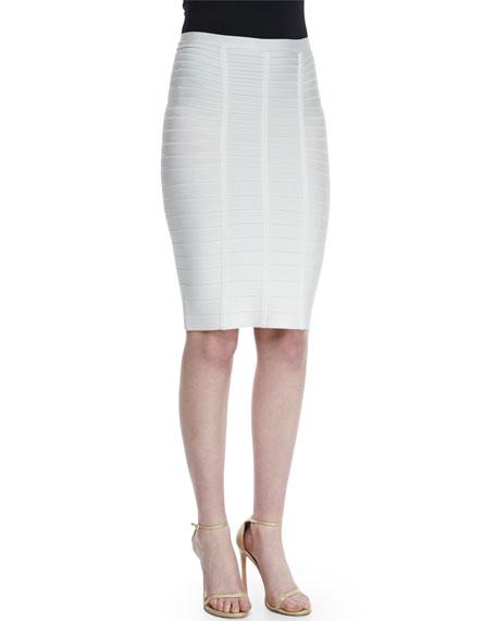 Herve Leger Bandage Knit Pencil Skirt, Alabaster