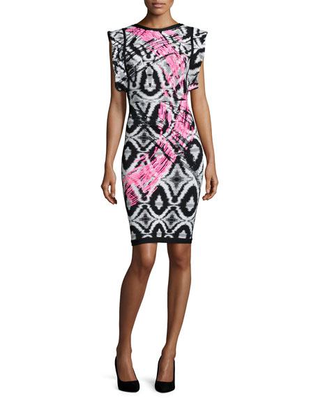 Herve Leger Flutter-Sleeve Brushstroke Ikat Bandage Dress
