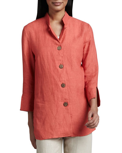 Linen Wooden-Button Jacket