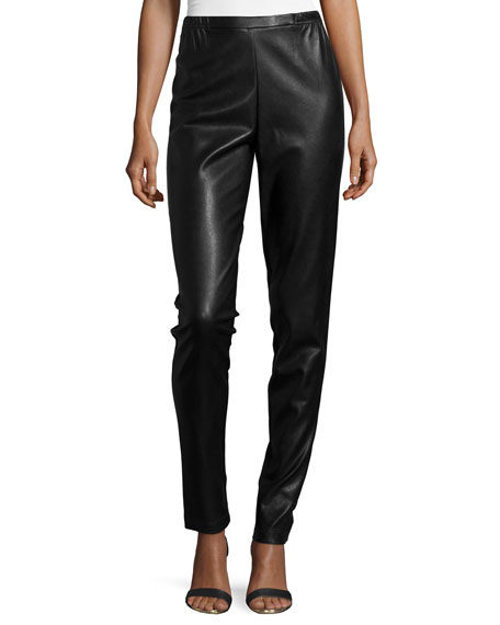 Caroline Rose Modern Faux-Leather & Ponte Easy Leggings,