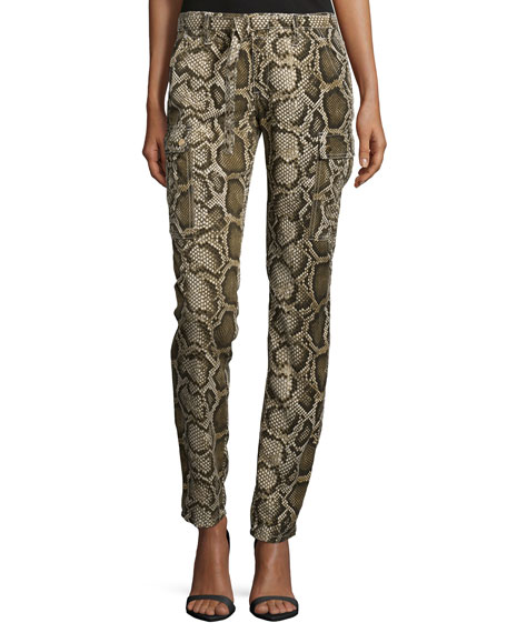 Mid-Rise Python-Print Cargo Pants, Olive