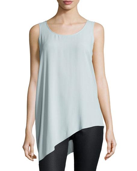 Eileen Fisher Silk Asymmetric Draped Shell, Geyser